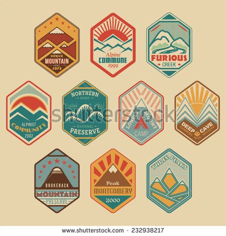 Set of retro-colored alpinist and mountain climbing outdoor activity vector logos. Logotype templates and badges with mountains, creeks, trees, sun, tent. National parks and nature exploration symbols