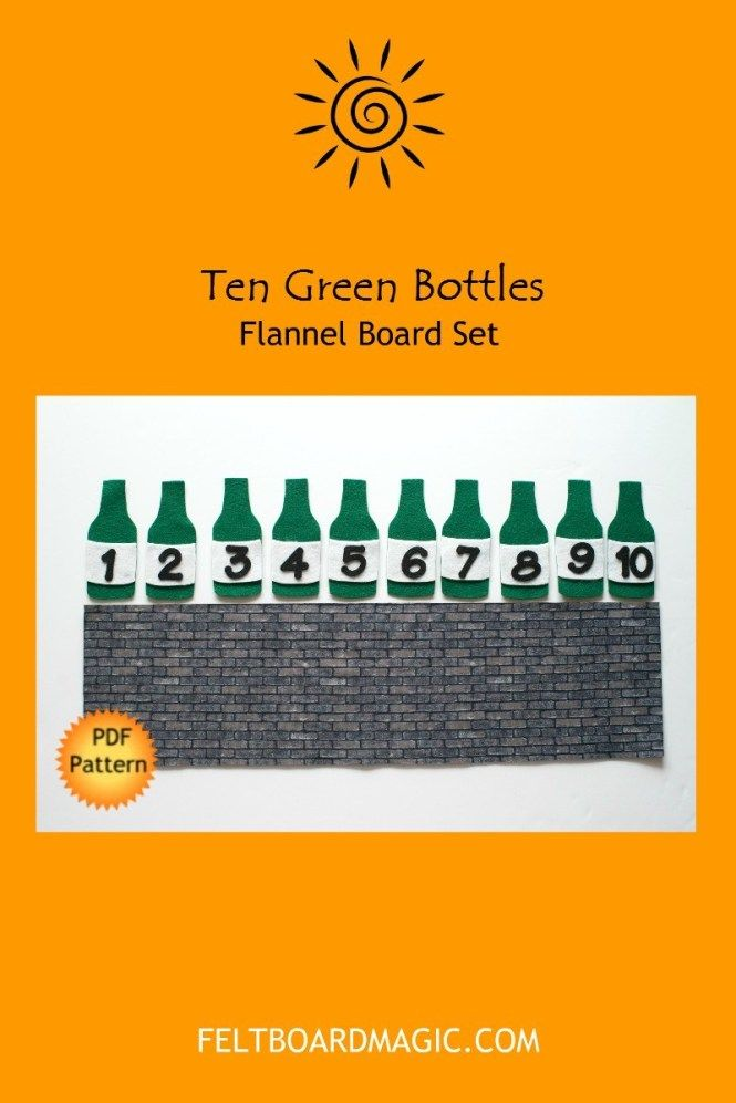 Ten Green Bottles Hanging On The Wall Felt Board Set Digital Pattern Felt Board Patterns Digital Pattern Felt Board
