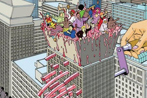 Amazing comics, manga and illustrations from master Japanese artistShintaro Kago. His bizarre, sometimes gory andslightly NSFW work is filled with smashing and surreal deconstructed imagery, fantasy driven narratives and occasional shocking situations.