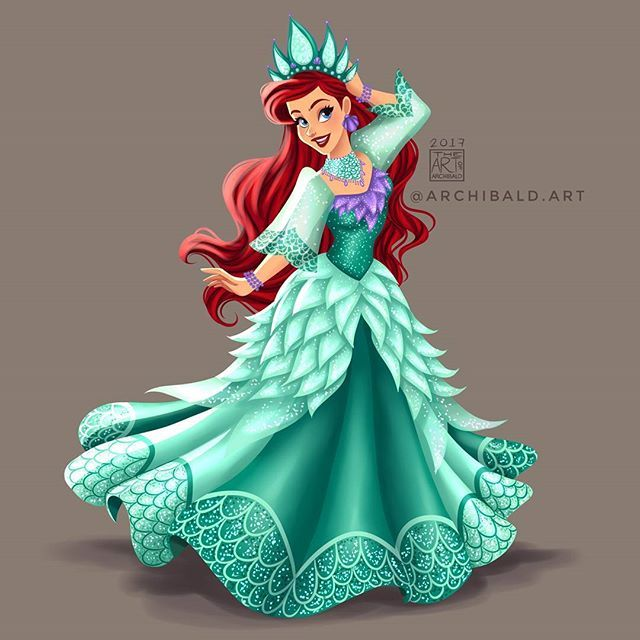Disney Princess: Ariel wearing a Festive Mestiza Gown. In her sea foam color this is inspired by Sinulog Festival Reynas
