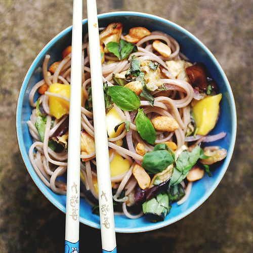Soba Noodles with Aubergine & Mango by ohpapillon #Soba_Noodles ...