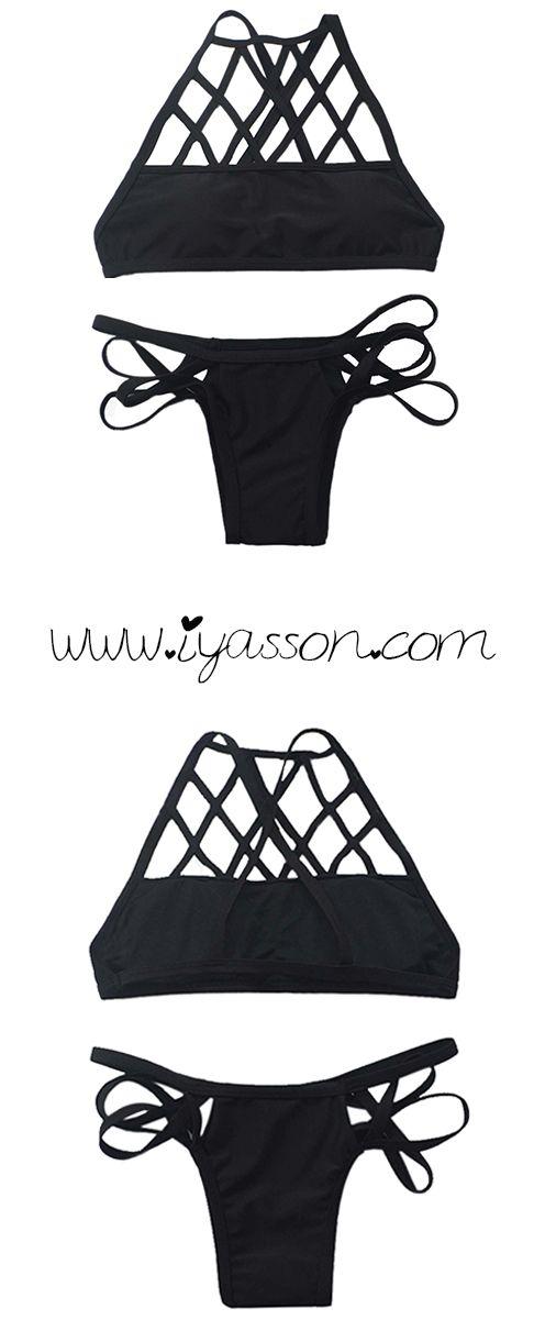 Classical black and cross design bikini set.This swimwear is sexy and perfect.