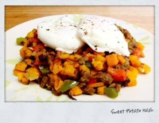 Sweet Potato Hash with Chicken Sausage and Poached Eggs | They've Gone ...