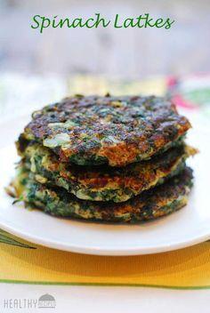 Spinach latkes make a tasty, healthy alternative to the traditional Hanukkah potato latkes. #hanukkah