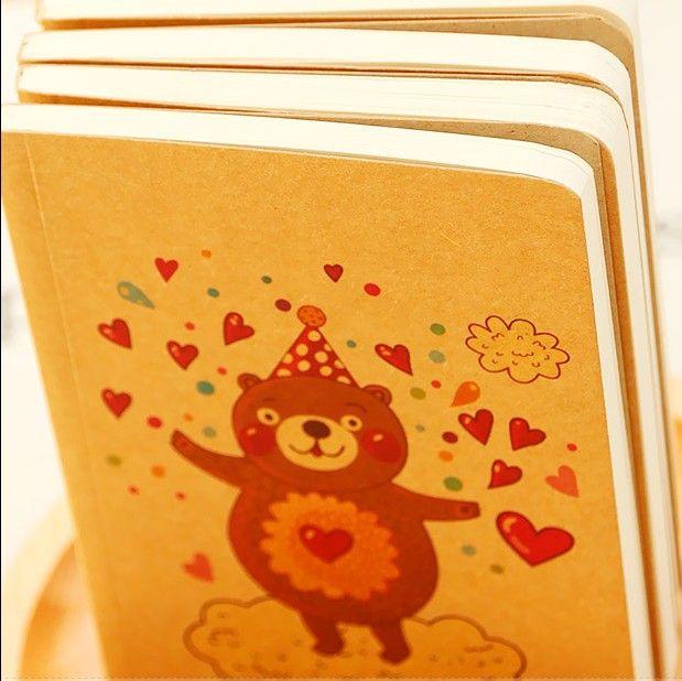 Милый мультфильм медведь дневник повестки дня смешной счастливый время тема граффити блокнот школы подарок