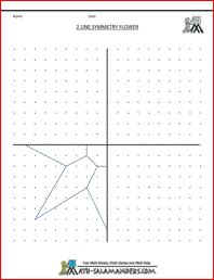 Flower Line Symmetry Worksheet, a basic geometry worksheet with 2 mirror lines