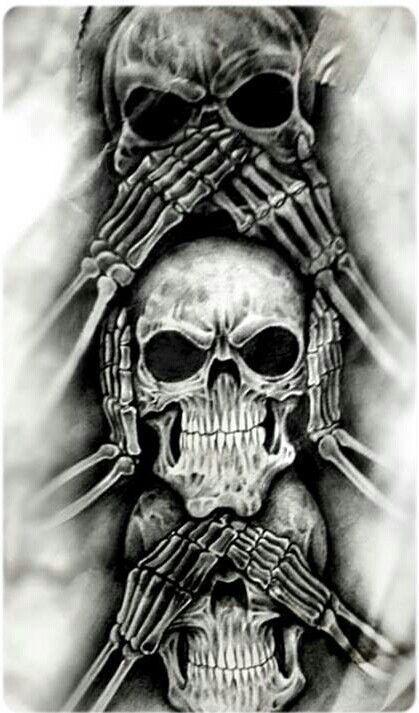 Non vedere il male, non sentire il male, non parlare di design tatuaggio teschio male