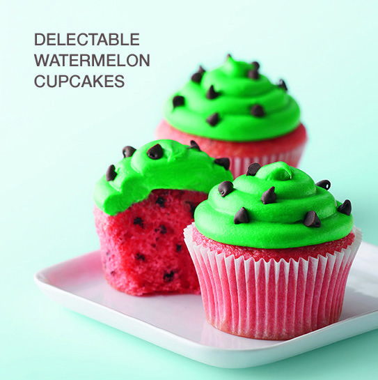 Savor the flavor of spring with delicious watermelon cupcakes.