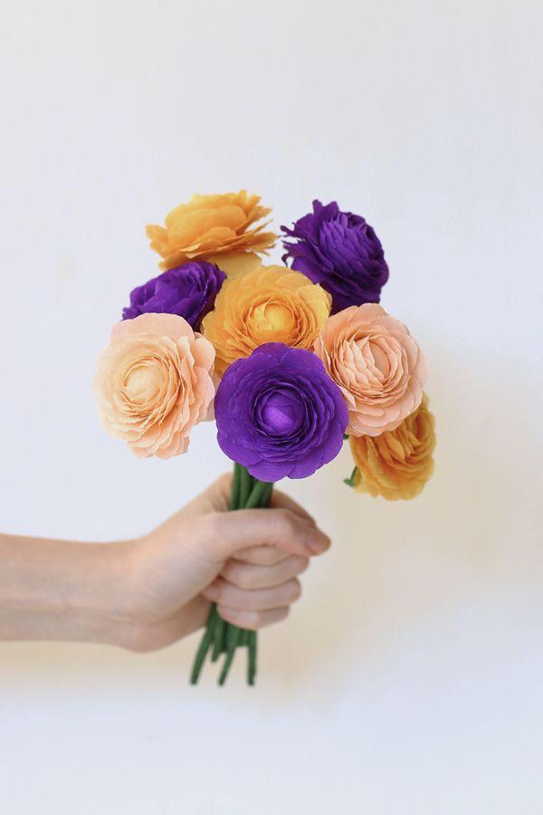 DIY ramo de flores, Ranúnculos de papel crepe.    DIY Flowers bouquet, crepe paper ranunculus o buttercups