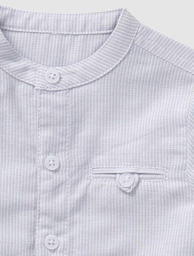 Conjunto camisa + pantalón bebé niño BLANCO CLARO A RAYAS