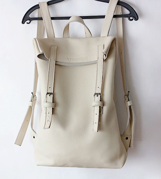 Awesome White Leather Backpack for Leatherella Lauren.....haha love this though, good taste mom