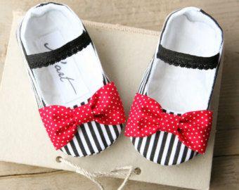 Bambino scarpe nautici ragazza, vestito rosso bianco nero a strisce nautico bambino, Pantofole di estate, bow scarpe, bambino doccia dono