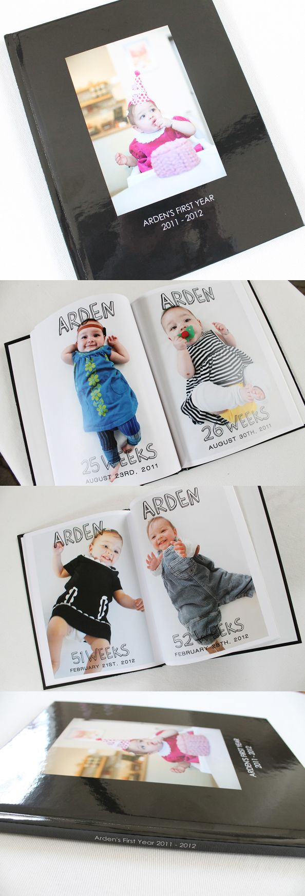 Photo Book Idea: Document one big, beautiful baby photo every week for a year to commemorate the life of a brand-new baby.