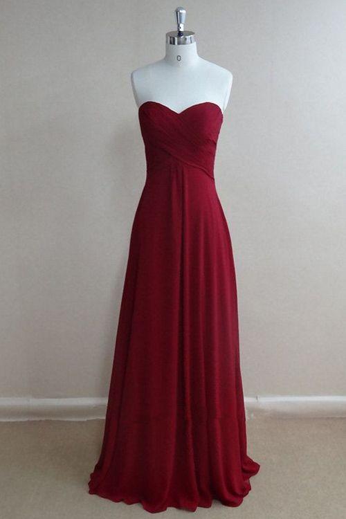 Simple Sweetheart Ruched Chiffon Burgundy Long Bridesmaid/Prom Dress