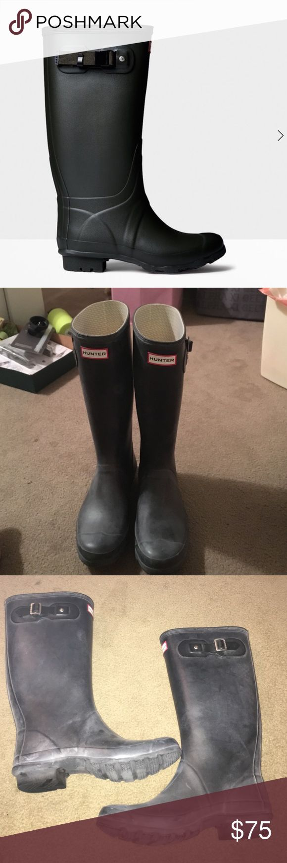 Hunter Huntress Rain Boots Hunter rain boots (wide calf) size 9. Slightly worn. They do have the white chalky look but that is normal and can be fixed with the hunter boot shiner. Hunter Boots Shoes Winter & Rain Boots