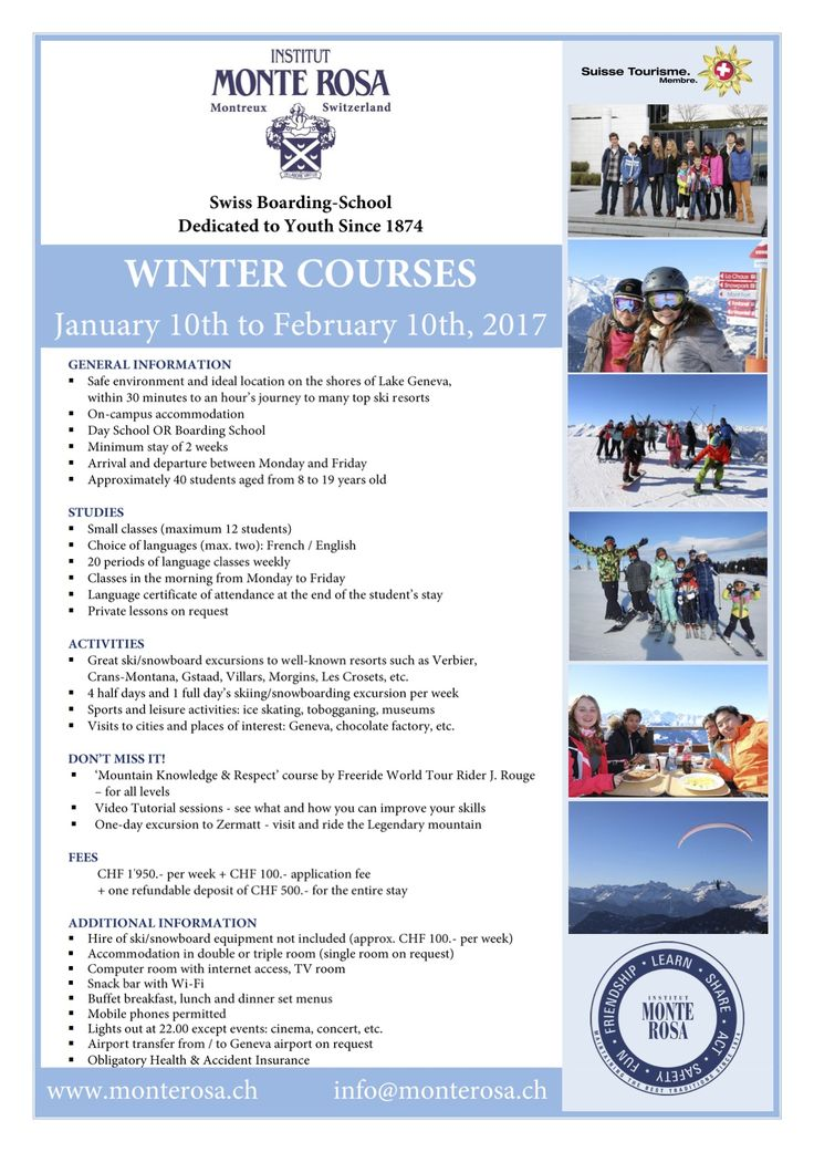 great intensive language and sport winter courses at Monte Rosa! Book it now! #swiss #boarding #schools #education #international #school #advice