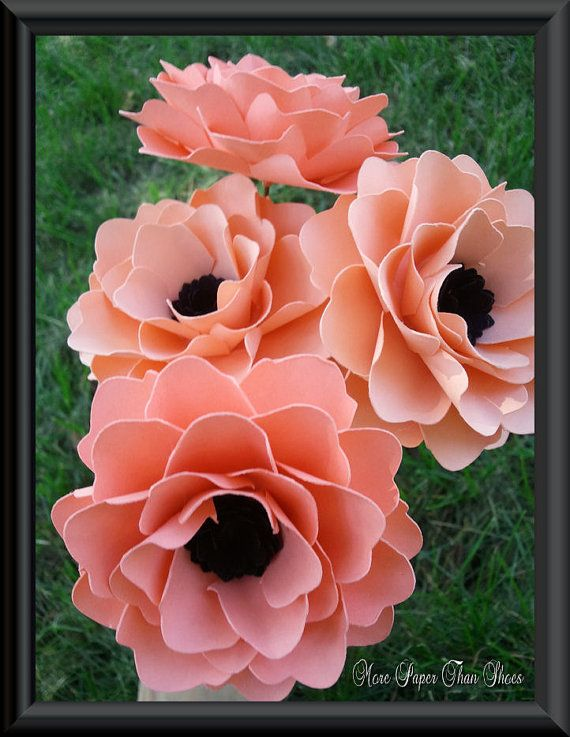 Paper Flowers DIY - Wedding Bouquet - Handmade - Stemmed - Made To Order - Salmon - Set of 6 $16.50 they come in a light peach as well!
