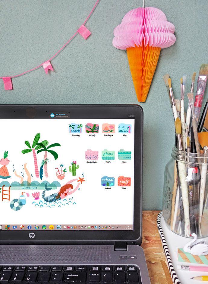 Dress your tech: free download summer desktop wallpaper + folders.