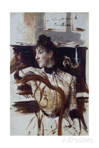 """Giovanni Boldini (Italian, 1842-1931) """"RItratto di Alaide Banti di profilo"""""""