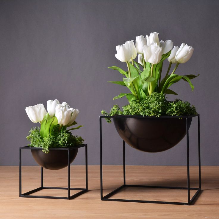 2017 2 Sizes Black Fashion Modern Tabletop Waterproof Metal Flower Pot Pergola Garden Planting Indoor Flower Home Wedding Decoration From Guchao_807, $35.06   Dhgate.Com