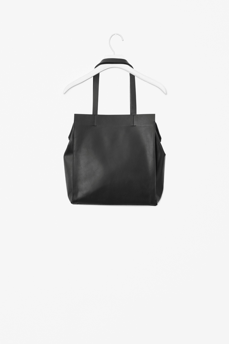 Square leather tote bag