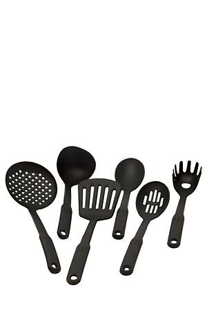 """Nylon utensil set with stainless steel handle includes masher, spaghetti server, ladle, slotted spoon, spoon and slotted turner.<div class=""""pdpDescContent""""><BR /><b class=""""pdpDesc"""">Dimensions:</b><BR />L12xH40 cm</div>"""