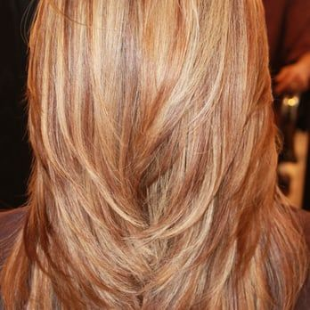 long layers, red, blonde, and golden highlights - Yelp