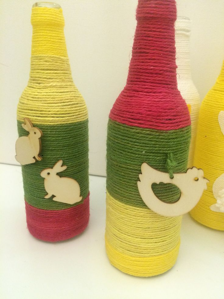 Easter bottles decorated with yarns #easterbottles #yarnbottles #easterdecoration #almanogr