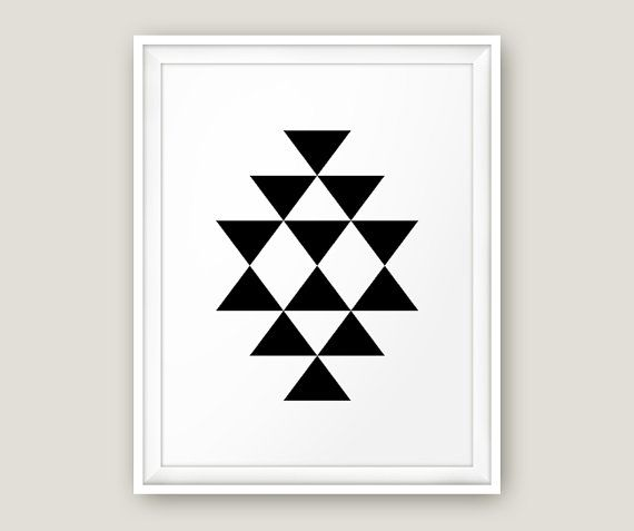 Scandinavian Print Southwestern Print Black and by MoonlightPrint