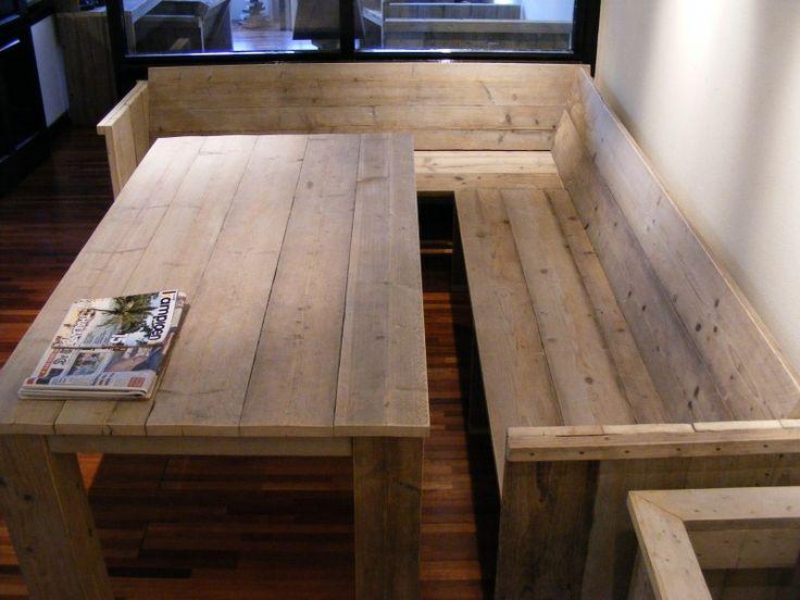Bank met zij en rugleuning gemaakt van gebruikt steigerhout (22121515) | BANKJES & STOELEN | JORG`S Houten Meubelen