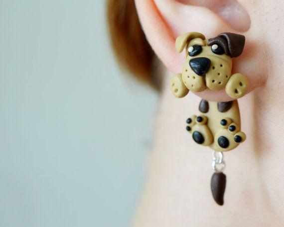 Dog earringspet stud post earringsanimal ear by JEWELRYandPLEASURE