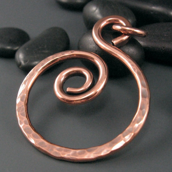 Textured Copper Pendant, Hammered Jewelry Component, MTO. $16.99, via Etsy.