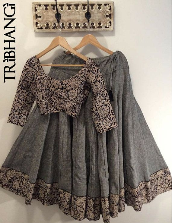 Kalamkari grey tribal gopi skirt with readymade by Tribhangi