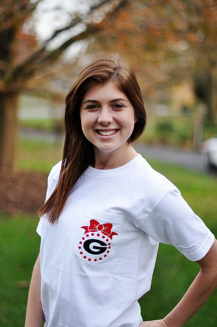 Womens GA Georgia Bulldogs Pocket T Shirt by SweetDesignsBtque
