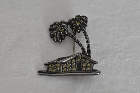 Rare antique silver brooch 1950 handcrafted one of a kind.