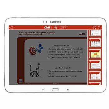 """Abbiamo realizzato molto più di una semplice applicazione. L'applicazione Android, visualizzata dagli investitori su Tablet Galaxy Tab 3 10.1, è il risultato di un complesso sistema di gestione ed erogazione dei contenuti.  L'applicazione """"Start 2014 – 2018"""" ha risposto a tre caratteristiche fondamentali: robustezza della soluzione, flessibilità e rapidità."""