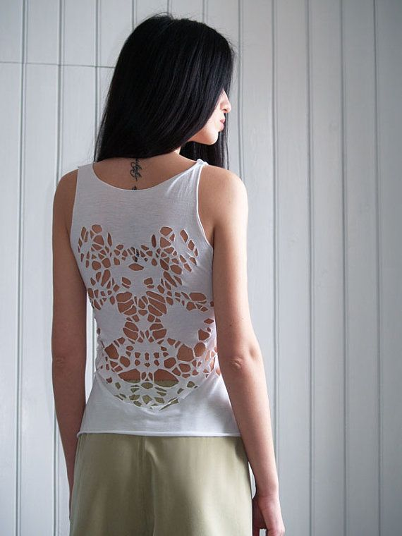 White laser cut tank top - Abstract open back pattern