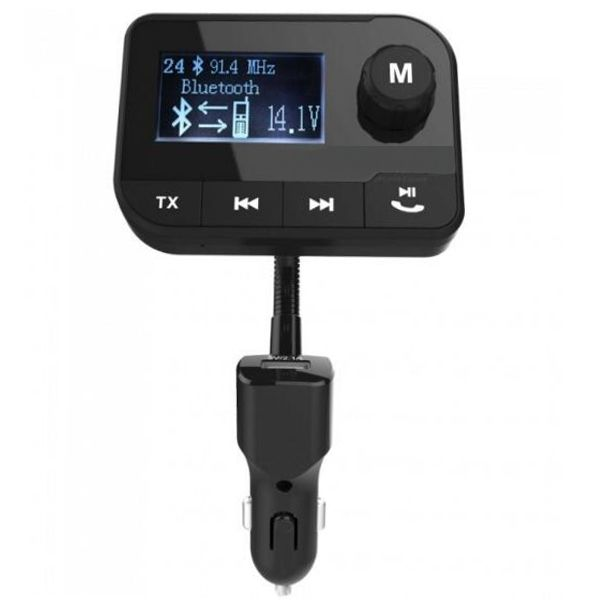 Bluetooth Transmisor FM Radio Adaptador Coche Kit Detect Coche Batería Voltaje con 2,0 Inch Pantalla