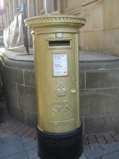 Gold post box in Sheffield