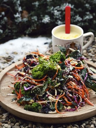 Delicious winter salad - Serve with a simple pasta, leftover cold meats, in a sandwich or with a simple yummy jacket potato and knob of butter. Any leftovers can be kept in the fridge then served as a really posh coleslaw.