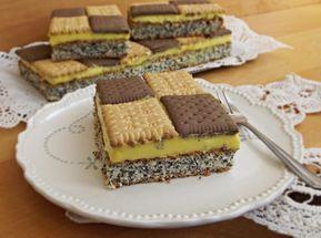 De mare efect această prajitura Sah cu biscuiti bicolori si blat cu mac, merita preparata, mai ales pentru mese festive, ca arata tare bine.
