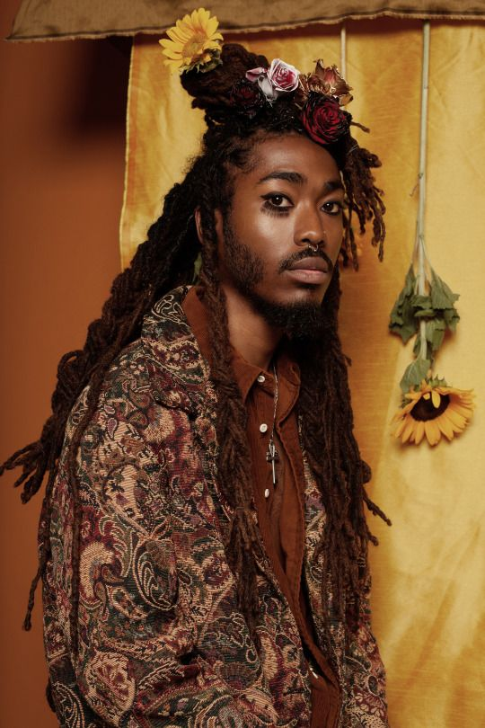 Promo shot for my friend @itsanubisblack < african decent + dreadlocks + male + flowers + Roosevelt