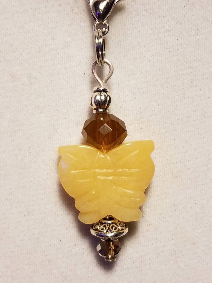 Yellow Quartz Butterfly Beaded Charm Can Be Used For Zipper Pull, Purse Charm or Vape Charm