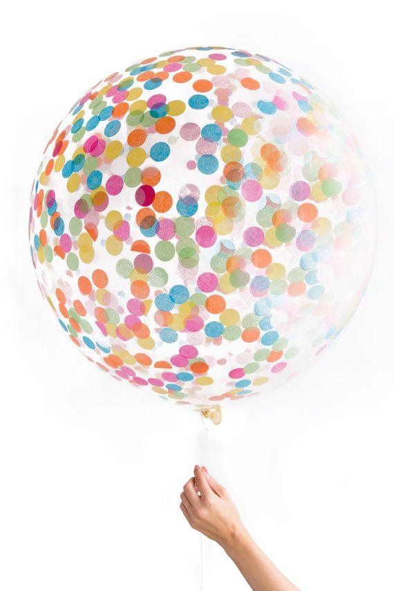Jumbo Clear Confetti Ballon by knotandbow on Etsy