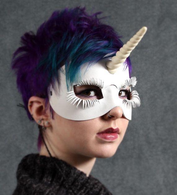 Unicorn leather mask in white by TomBanwell on Etsy, $49.00Leather Crafts, Ideas, Costumes, Lion Brand Yarn, Unicorns Leather, Leather Masks, Leather Work, Halloween, Unicorns Masks
