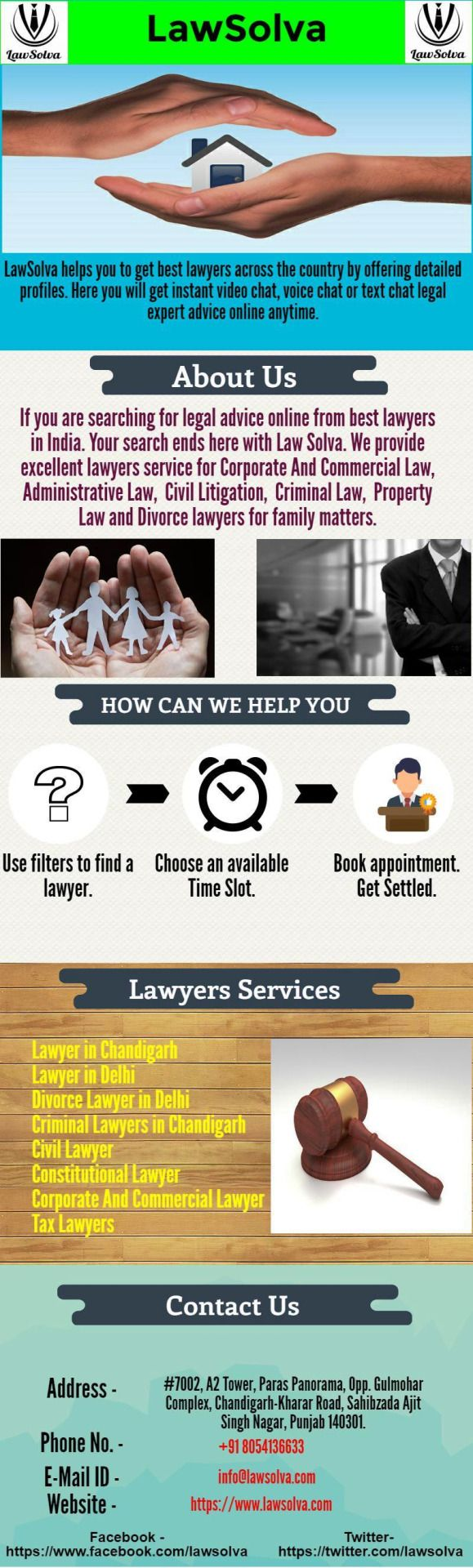 Best Divorce Lawyers in Chandigarh @lawsolva Are you searching for Divorce lawyers in Chandigarh for divorce issues? Lawsolva aim to provide best divorce lawyers in the city with more than 20 years of experience.