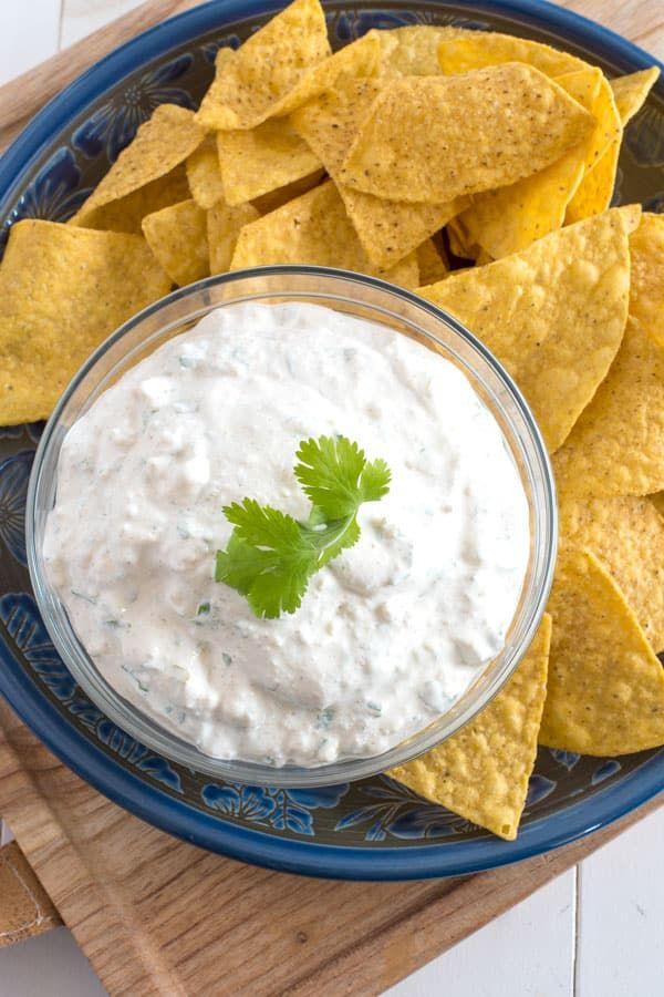 Creamy Sour Cream Fresh Cilantro Crumbled Queso Fresco And A Few Mexican Spices Are All You Need To Make This Sour Cream Dip Queso Fresco Recipe Dip Recipes