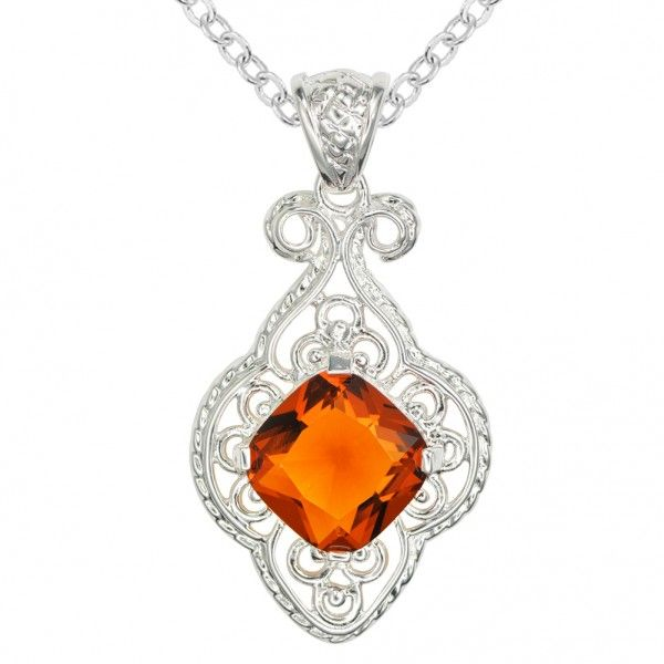 Pendant measurements: Total length: 2.17″, total width: 1.10″, total thickness: 0.35″ Gemstone measurements(L*W): 0.59*0.59″ Pendant features: Square shape orange gemstone is prong set in the middle of pendant. Filigree openwork gallery surrounds the center of gemstone. This item is the same design as the model P0013, P0018 and P0028 of Dangdang-Bling Pendant net weight: 0.36 oz Chain: crossed-chain, plated silver, lobster claw clasp connection, approx. length: 18″