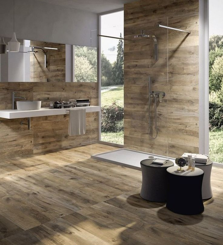 Carrelage imitation bois 27 photos pleines de style - Carrelage salle de bains design ...