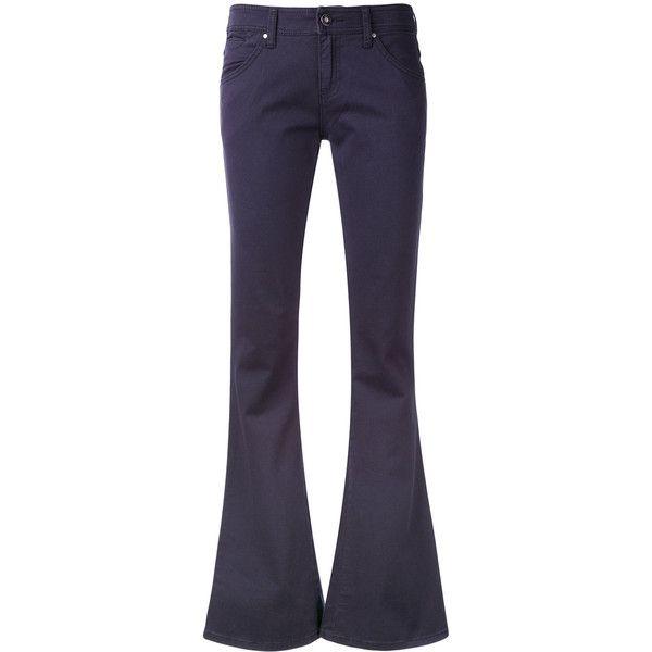 Armani Jeans kick flare jeans ($123) ❤ liked on Polyvore featuring jeans, blue, blue flare jeans, flare jeans, armani jeans, flared jeans and armani jeans jeans